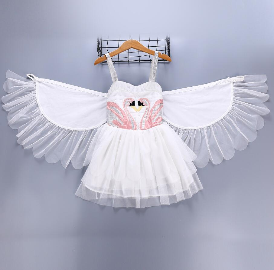 Efficient Kids Dress For Girls Christmas Girls Swan Wings Show Angel Wings Dress Vestido Flamingo Angel Costume Swan Princess Sling Dress Reputation First