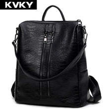 2017 Vintage Women Leather Backpack Fashion Alligator Backpack Casual Ladies Student School Bag Female Shoulder Women Back Pack
