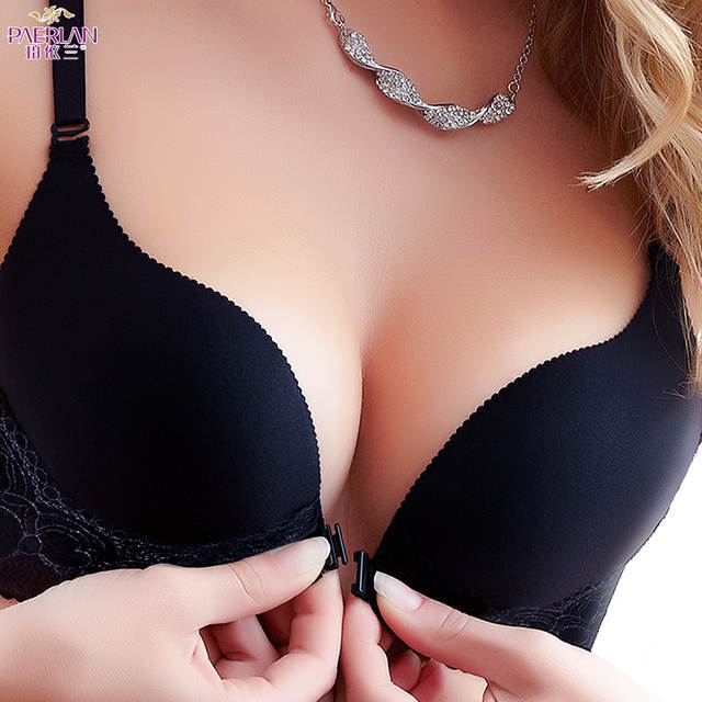 76ceb0c822 Paerlan Summer Lace Glossy Seamless Wire Free Front Buckle Sexy Bra For  Women Super Push Up