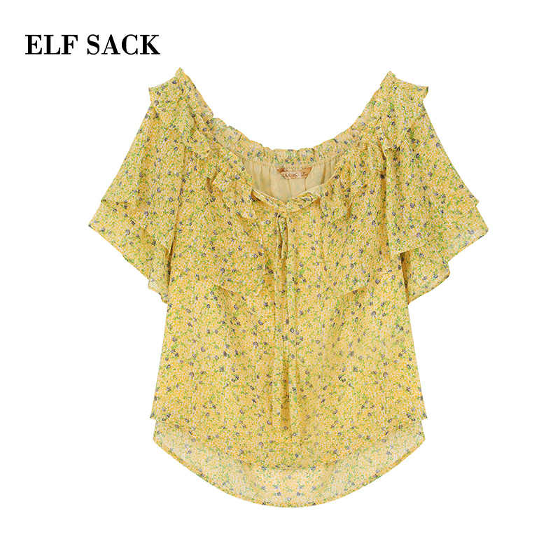 ELFSACK Zomer Bloemen Slash hals Vrouwen Blouses Fashion Casual Vlinder Mouw Vrouwelijke Shirts 2019 Prairie Chic Vrouw Kleding