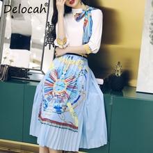 Delocah Women Spring Summer Set Runway Fashion Designer Half Sleeve Vintage Printed Elegant Slim Knee-Length Skirt Lady Suits