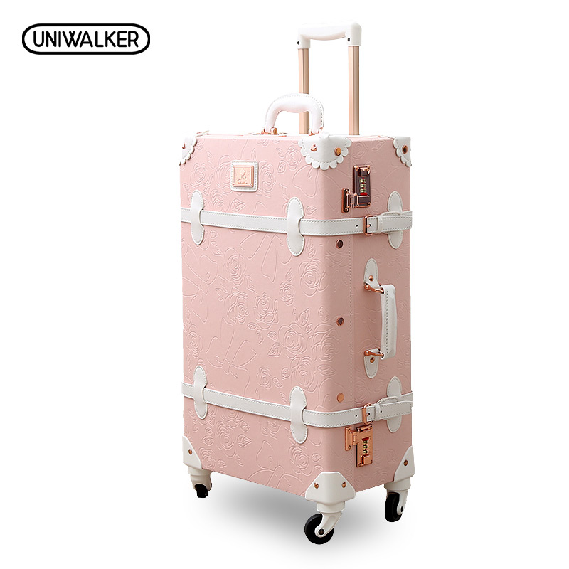 20 - 26 Spinner Wheels Retro Pink Pu Leather Embossed Suitcase Women Trunk Vintage Luggages Rolling Luggage for Girls