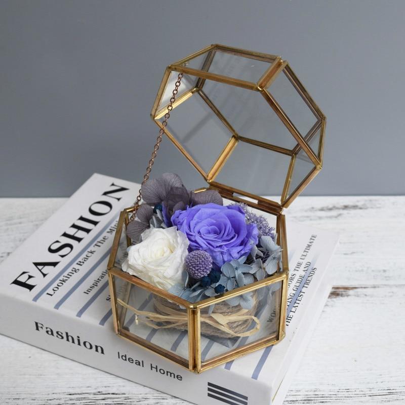 Vase en verre créatif bijoux géométrique Micro paysage serre bouteille de boîte décorative moderne couverture en verre créative