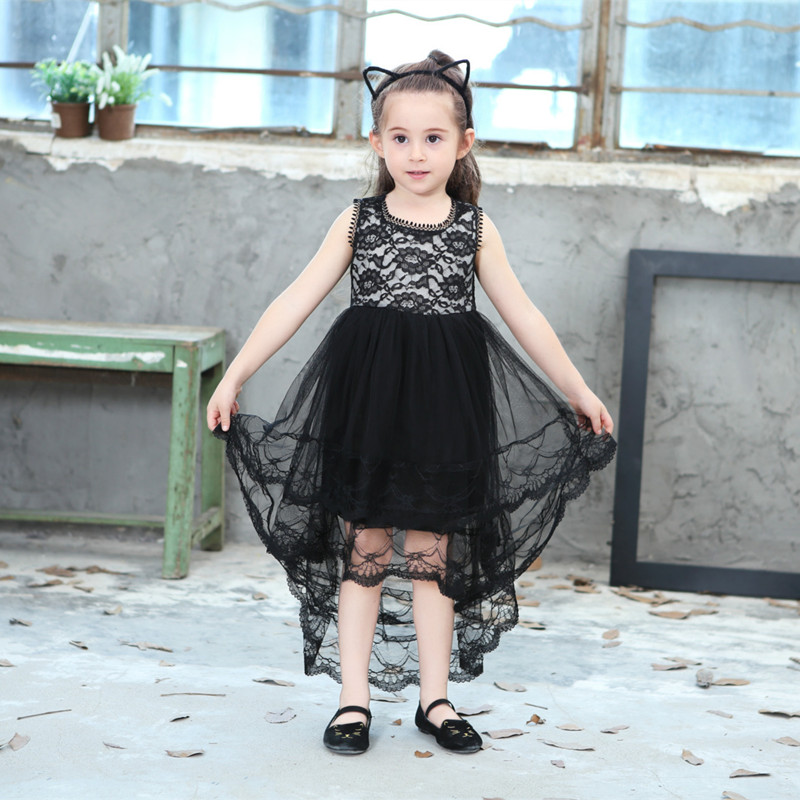 Little Black Dress Fashion Girl: DFXD England Style Little Girl Sleeveless Black Lace