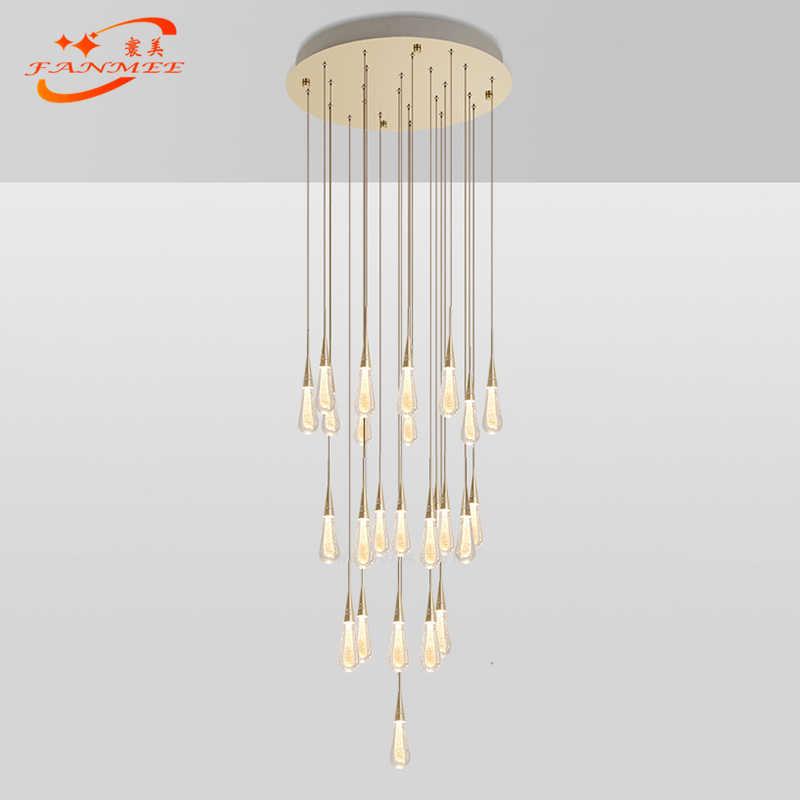 Современный светодиодный подвесной светильник Singal стекло капли воды подвесной светильник для гостиной столовой золотой порошок Хрустальная висячая лампа