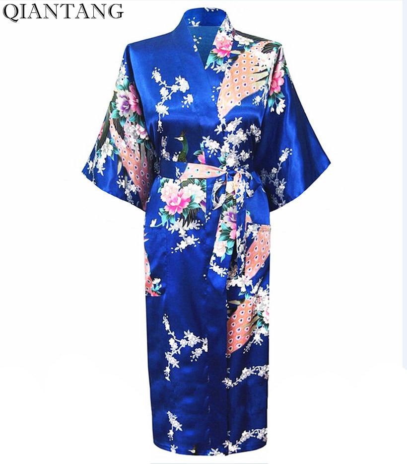 Mavi Qadın Faux İpək Geyimi Mujer Pijama Çin Stil Qadın geyimləri Kimono Yay Hamam Xalça Plus Ölçü S M L XL XXL XXXL S0031