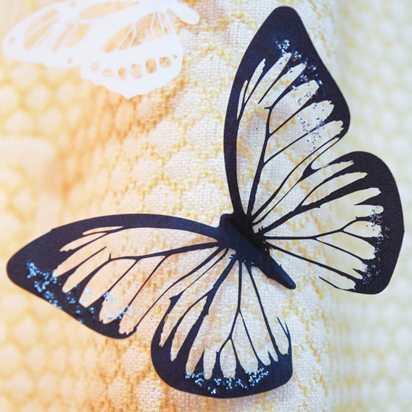 18pcs Black/White Crystal Butterfly Sticker Art Decal Home ...