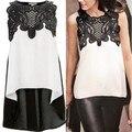 Женская блузка свободного покроя без рукавов шифон блузка рубашка летние топы