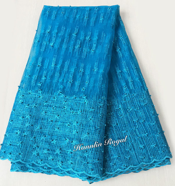 pure turquoise blue Scottish style high quality french lace African tulle lace fabric with lots of beads 5 yards / pc Hot sale