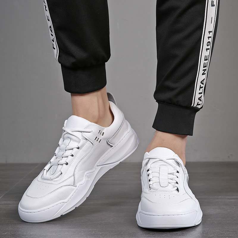 2019 Genuine Leather Shoes Men Sneakers White Sneakers Cool Young Man Casual Shoes Cow Leather Male Footwear A1499