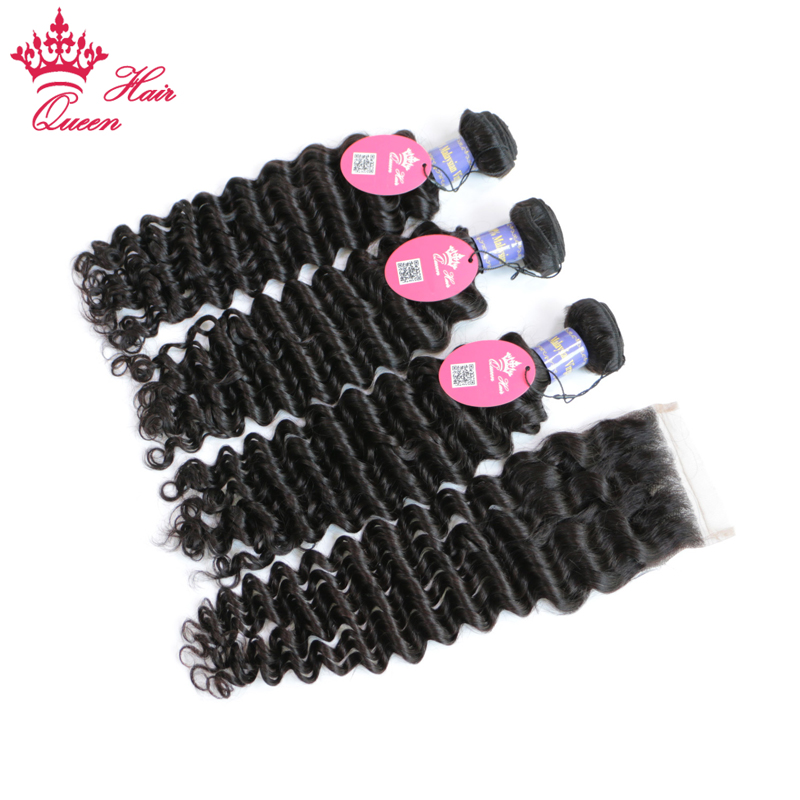 Queen Hair 3 Bundles Malaysian Deep Wave Hair with Lace Closure 4Pcs/lot Remy Hair More Wave Human Hair Bundles With Closure