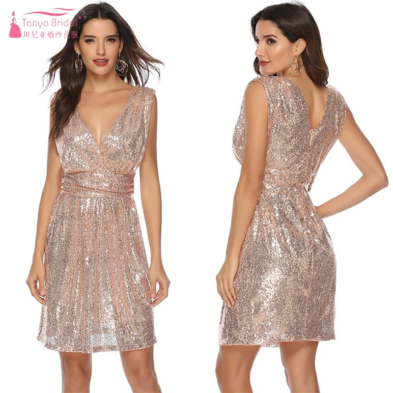 A Line V Neck Knee Length Gold Silvery Cocktail Dresses Sequined Simple Party Homecoming Dress Gown
