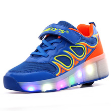 New kids LED Shoes for 2017 Adults wheels Roller Shoes Led Luminous kids Shoes for