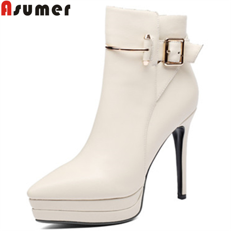 ASUMER black fashion ankle boots for women pointed toe zip genuine leather boots buckle super high thin heels ladies shoes ouqinvshen pointed toe thin heels women boots ladies super high heels ankle boots casual fashion butterfly knot women s boots