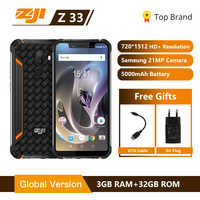 ZJI Z33 IP68 Impermeabile Del Telefono 4600 mAh 3 GB 32 GB 5.85 Smartphone Android 8.1 MTK6739 Viso ID 4G FDD-LTE ZOJI HOMTOM Del Cellulare
