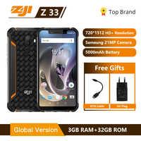 "ZJI Z33 IP68 impermeable del teléfono 4600 mAh 3 GB 32 GB 5,85 ""Smartphone Android 8,1 MTK6739 cara ID 4G FDD-LTE ZOJI HOMTOM teléfono móvil"