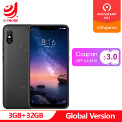 Official Global version Xiaomi Redmi Note 6 Pro 3GB 32GB Snapdragon 636 Octa Core 4000mAh 6.26 inch 12MP+5MP Note6 Smart Phone