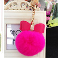 2016 Pompom Fofo Cristal Arco Pom Pom Keychain Chaveiro Coelho Bola de pêlo Saco porte claves llavero Chave Chave Anéis Da Cadeia Chaveiro