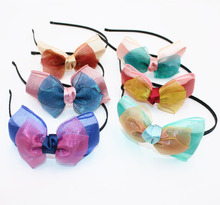 Cute Colorful Grosgrain Ribbon Bowknot Girls Hairbands Shiny Kids Hair Bows Headbands Headwear Hair Accessories