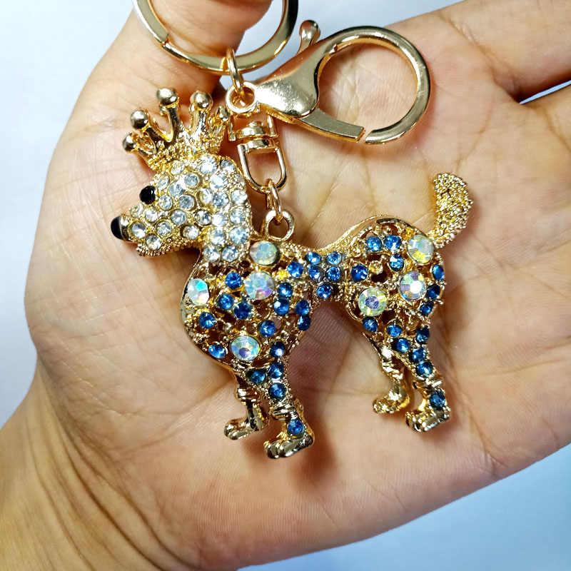 LLavero de moda para perro, bolso con dijes, llaves colgantes, cadenas para perros, llavero de coche, llaveros de cristal bonitos, pequeños diamantes de imitación