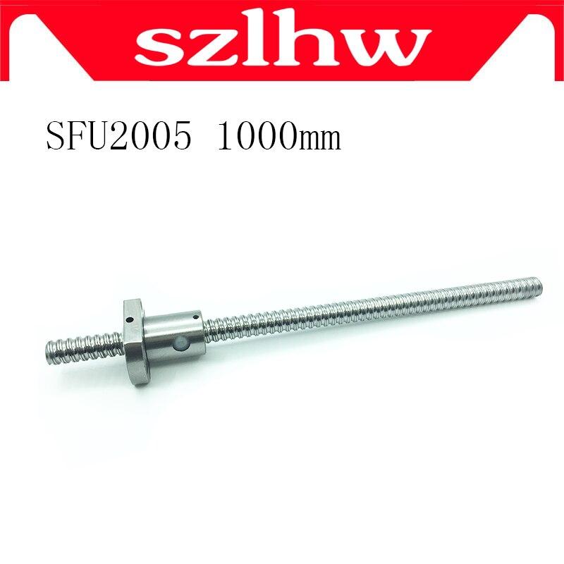 Haute qualité 20mm 2005 vis à billes roulé C7 vis à billes SFU2005 1000mm avec une bride 2005 écrou à billes unique pour pièces de CNC pas d'extrémités