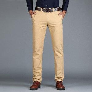 Image 2 - Vomint Neue männer Hosen Gerade Lose Beiläufige Baumwolle Mode Business Anzug Hosen Schwarz Blau Khaki Einfarbig Plus Größe 38 40 42