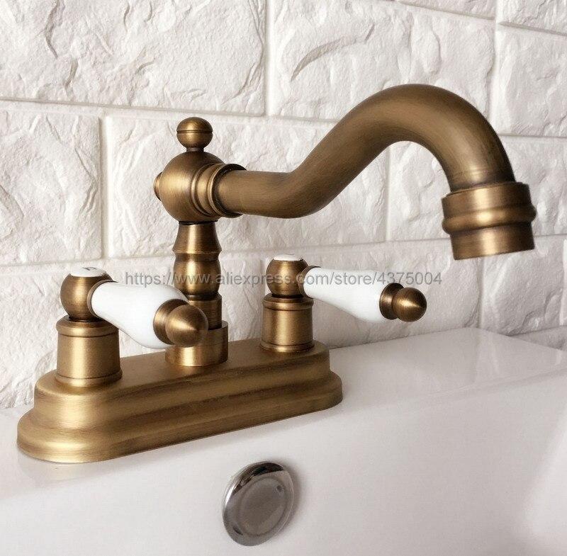 Antique Brass Double Handle Bathroom Wash Basin Mixer Taps / 2 Hole Deck Mounted Swivel Spout Vessel Sink Faucets Nan062 antique copper 360 swivel spout bathroom basin faucet single hole deck mounted single handle vessel sink mixer taps wnn008
