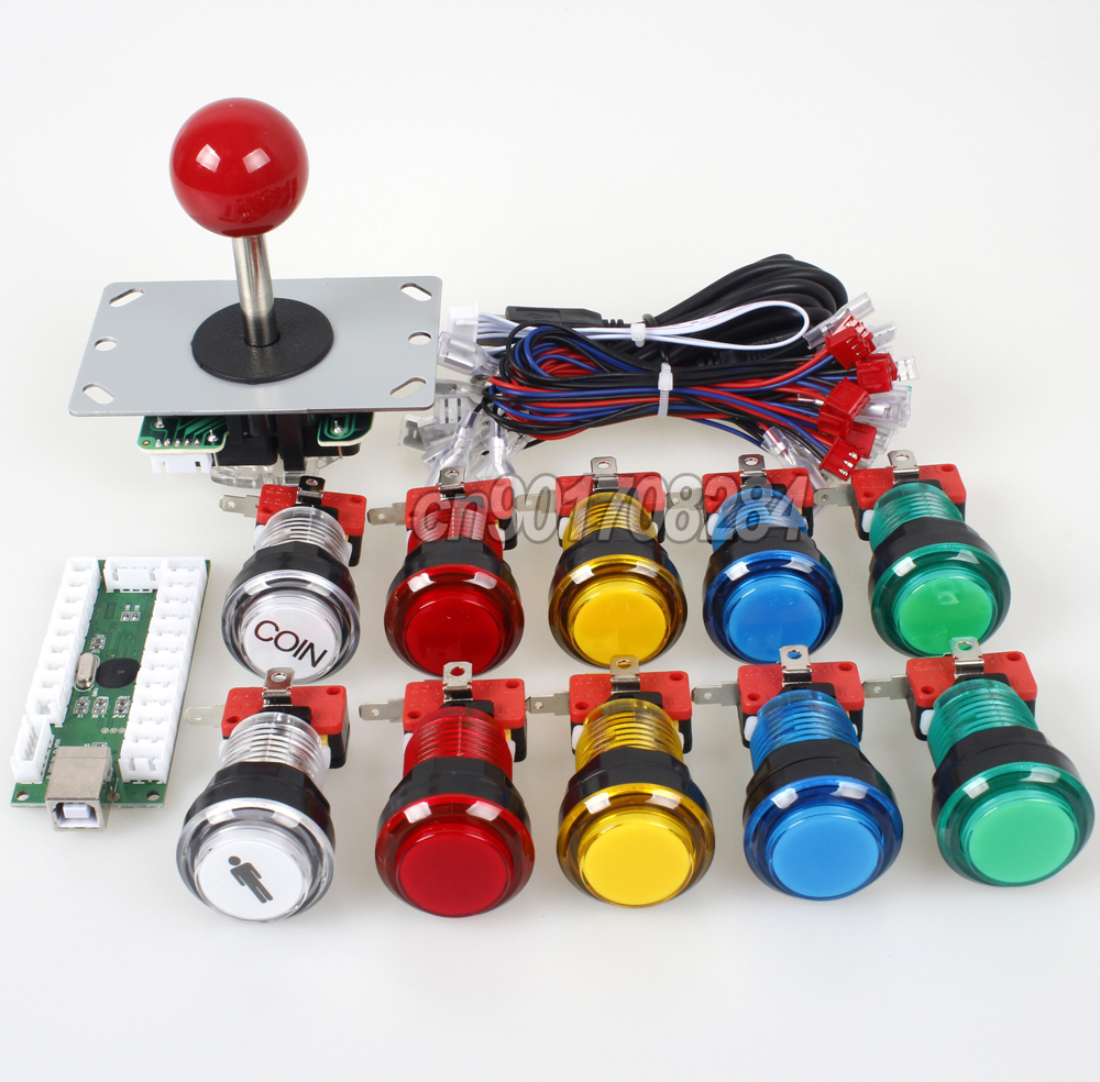 Arcade Control Panel 5Pin Joystick + 10 x LED Push Button + USB Encoder Board To Raspberry Pi Retropie 3 Model B Project DIY kitArcade Control Panel 5Pin Joystick + 10 x LED Push Button + USB Encoder Board To Raspberry Pi Retropie 3 Model B Project DIY kit