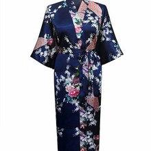 Темно-синий женский халат для спальни кимоно летнее банное платье юката Ночная рубашка женская шелковистая ночная рубашка повседневная домашняя ночная рубашка S-3XL