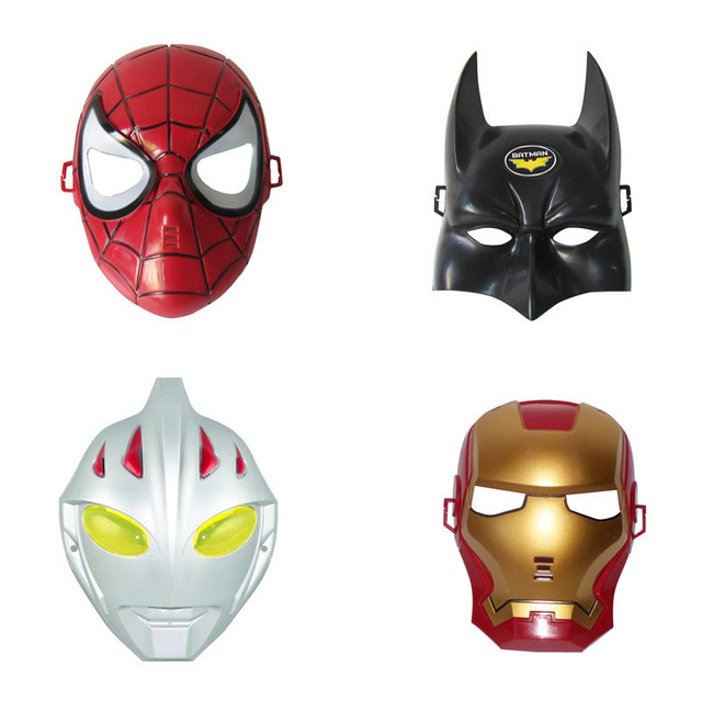 1 pc Máscara Festa de Halloween Máscaras Máscaras de Super-heróis Vingadores Ferro Batman Spiderman Máscara Ultraman Crianças Tema da Festa de Brinquedo Menino Presente de Natal