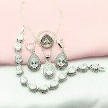 Ashley Blanco Cubic Zirconia Joyería Plateada de Plata Para Las Mujeres Collar/Colgante/Pendientes/Pulsera/Anillo Caja de Regalo libre