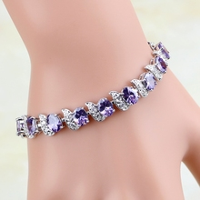 925 Silver Jewelry Mystic Purple Cubic Zirconia White CZ Charm Bracelets For Women Free Gift Box tjp trendy box shaped silver anklets for women jewelry new fashion girl silver 925 bracelets jewelry lady lovers christmas gift
