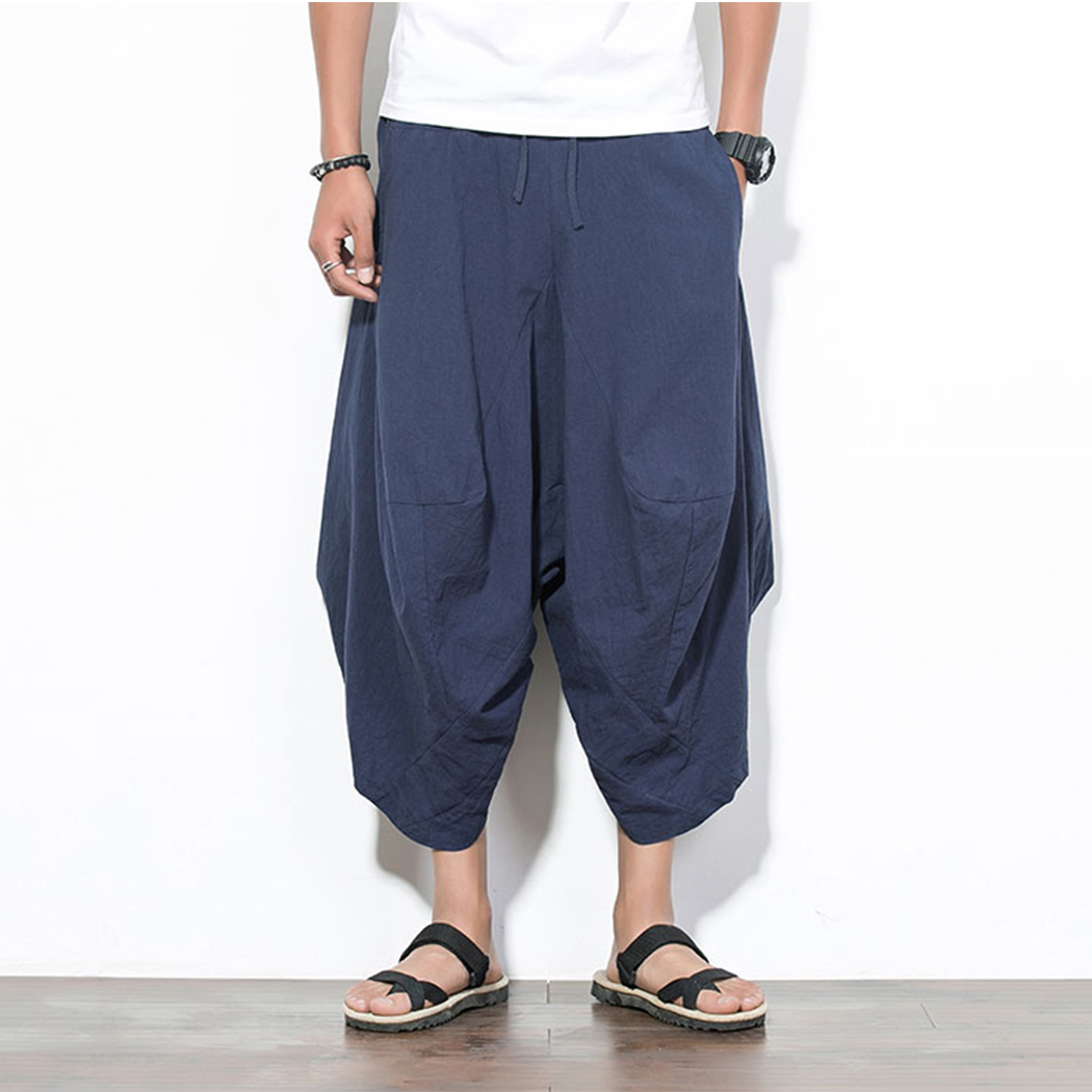Drawstring Pants Trousers Harem Linen Chinese-Style Loose Large-Size Casual Wide-Leg