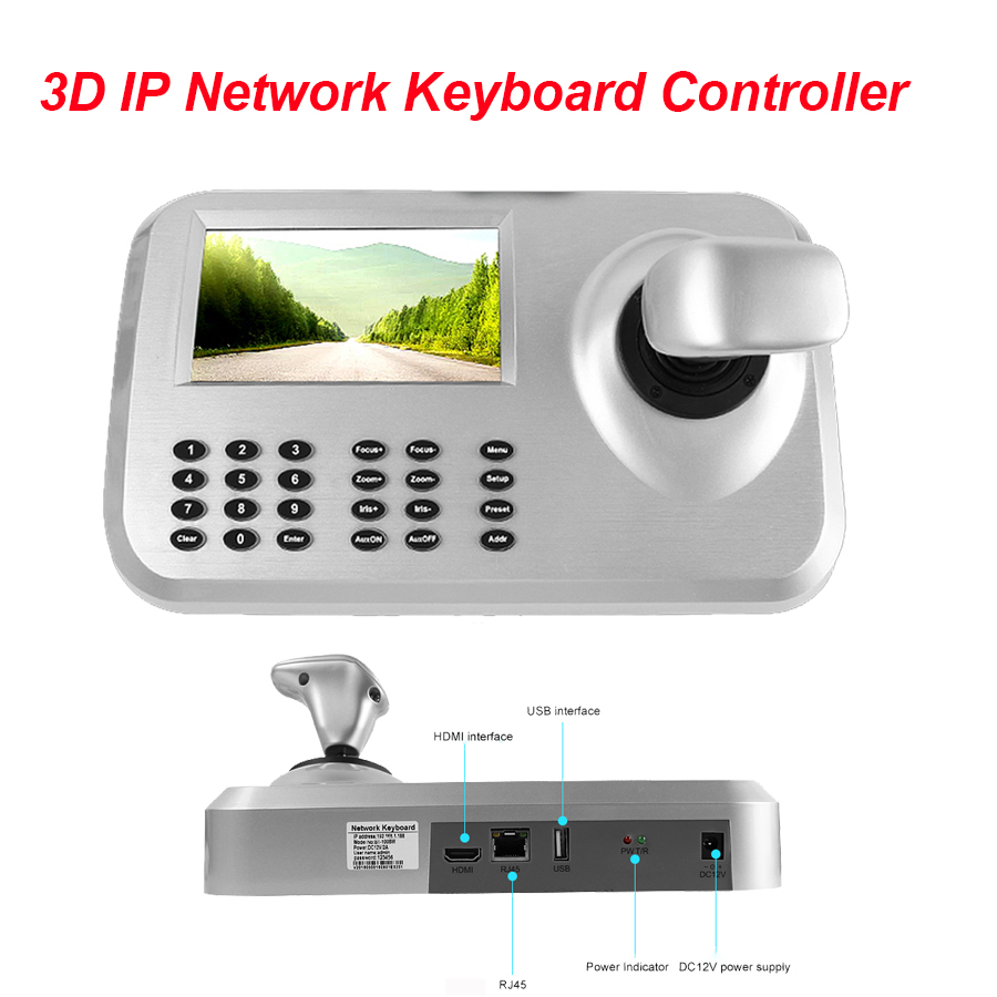 CCTV de Sécurité 3D 3 Axe Caméra PTZ Joystick Surveillance IP Réseau Clavier Contrôleur W/5 LCD Écran HDMI USB Outpout ONVIF