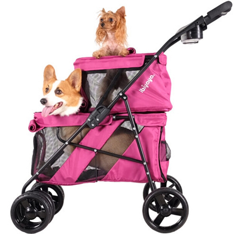 Carriage Pram Stroller 20kg Bearing Folding Double Dog Cat Carrier Pet Buggy