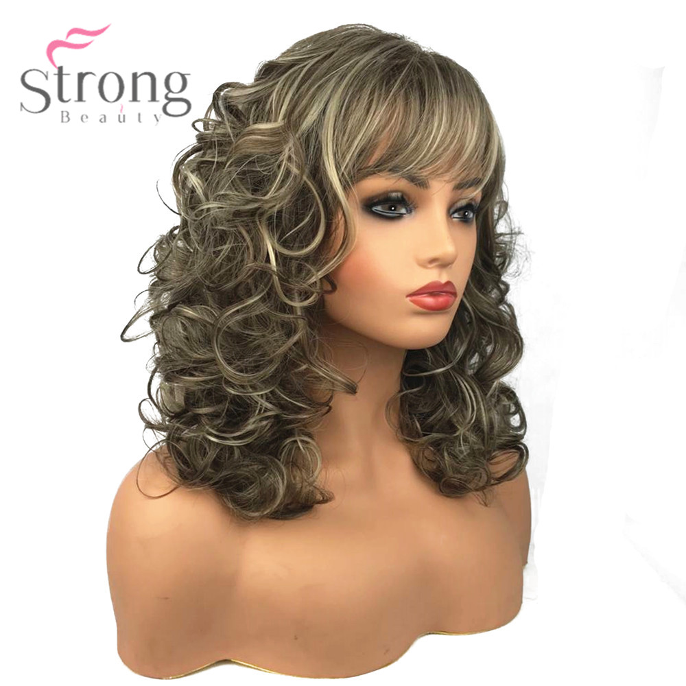 StrongBeauty Women's Synthetic Wigs Long Curly Hair Beige Blonde Mix Capless Natural Wigs