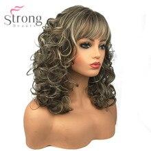 StrongBeauty vrouwen Synthetische Pruiken Lange Krullend Haar Beige Blonde Mix Capless Natuurlijke Pruiken