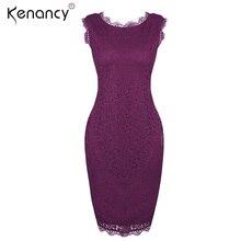 Kenancy Clearance Sale 4XL Plus Size Solid Sexy V Back Purple Lace Dress Women Night Club Party Sleeveless Bodycon Vestidos