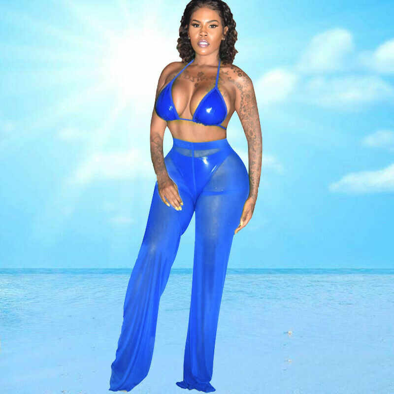 Vrouwen Sexy Bikini Cover up Beach Mesh Ruches Sheer Wijde Pijpen Broek Elegante Hoge taille Losse Transparante Broek Beachwear