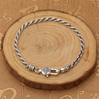 S925 Sterling Silver Jewelry Retro Thai Silver Hemp Rope Six Words Mantra Vajra Men And Women Bracelet Homme Gift