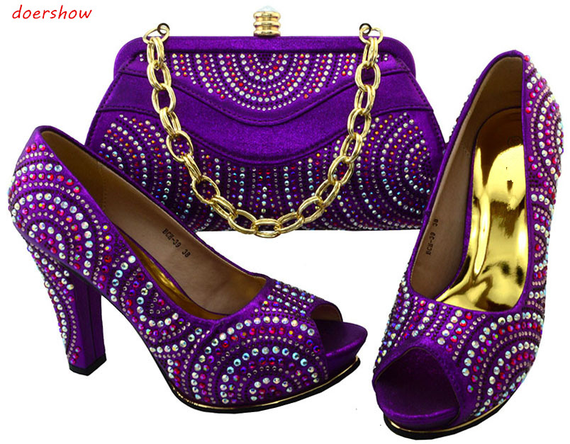 doershow Italian Matching Shoes and Bag Set African Wedding Shoe and Bag Sets Matching Shoes and Bags for Wedding BCH1-57 doershow italian shoe with matching bag silver african shoe and bag set new design matching shoes and bags for party bch1 7