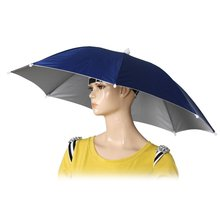 26″ Diameter Elastic Band Fishing Headwear Umbrella Hat Dark Blue