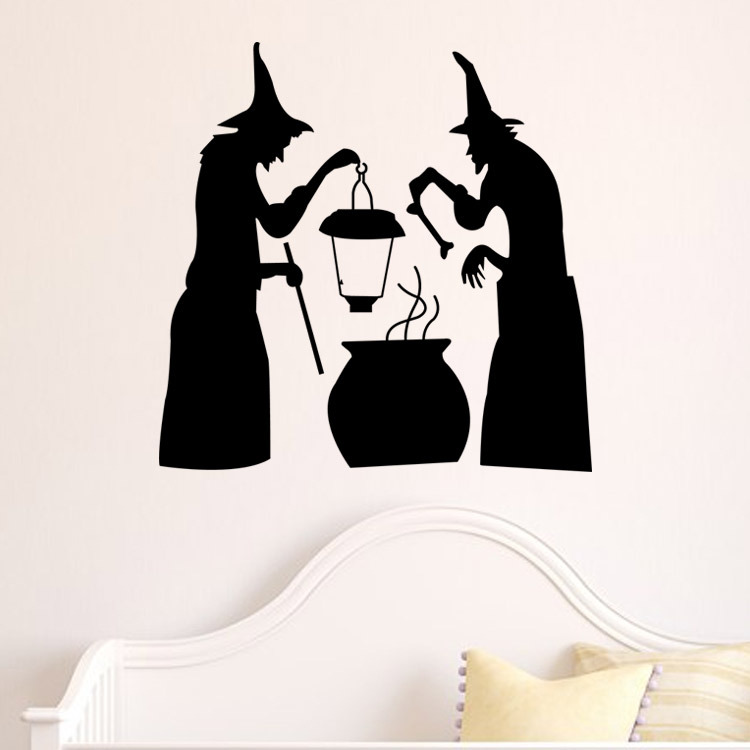 Image 5 - Halloween Black Devil Ghost Wall Sticker Vinyl Vintage Poster PVC Haunted Home Decals Kids Rooms-in Wall Stickers from Home & Garden
