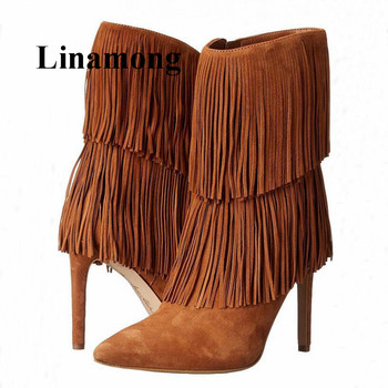 2018 Hotteest Fringe High Heel Pointed Toe Fashion Flock Solid Ankle Boots Winter Side Zippere Women Boots Normal Size