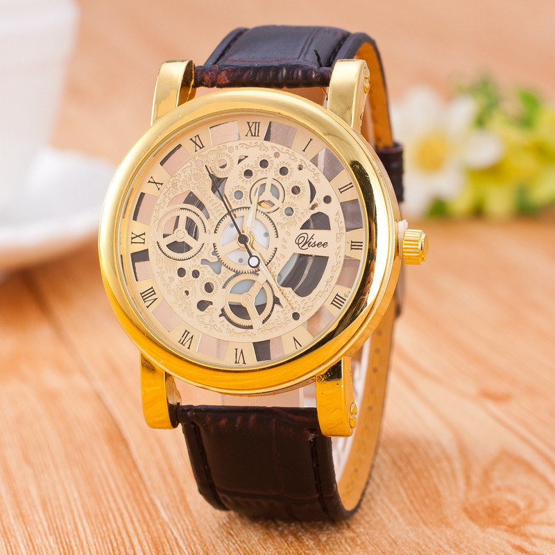 Hollow Imitation mechanical men's watches women fashion 2017 Ladies Watch for dresses PU leather strap relogios femininos YL033