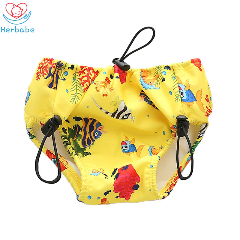 Herbabe Newborn Baby Swim Diaper Adjustable Leakproof Swimming Pants Kids Swimwear Swimsuits Unisex Infant Cloth Diapers Cover