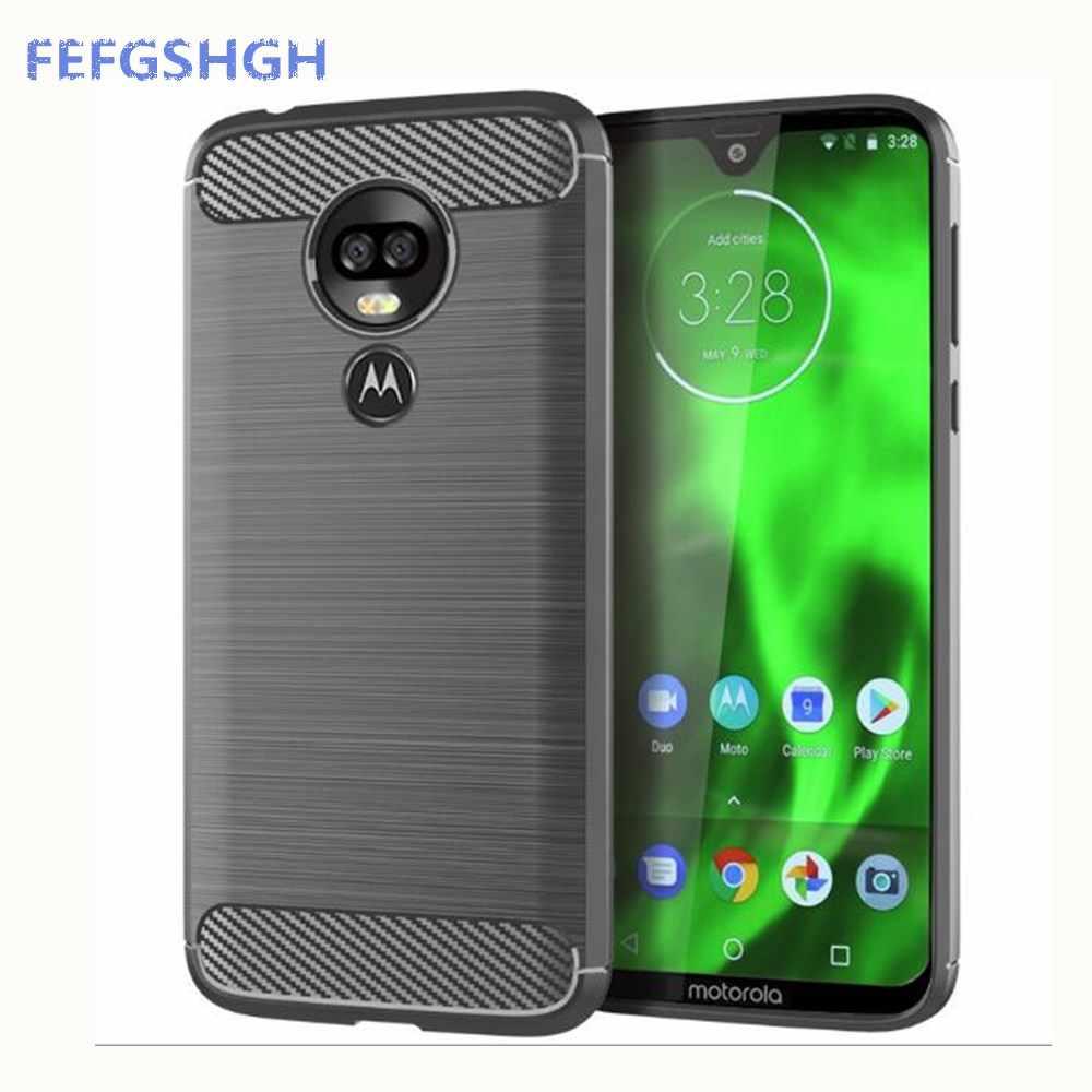 Karbon Fiber Kapak Motorola Bir Vizyon Kauçuk Silikon Telefon Kılıfları Motorola Moto G7 Oyun G7Plus G7PowerBack Kılıfı