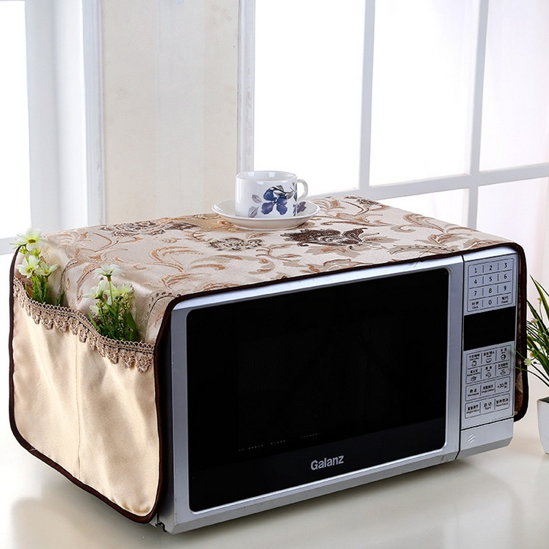 europe embroidery lace dust cover microwave oven cover kitchen oven hood microwave towel storage bag anti