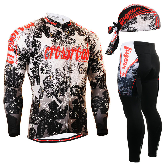 2016 Hot men star printed long-sleeved cycling jersey and trouser tights cycling set professional men riding clothes sets suits