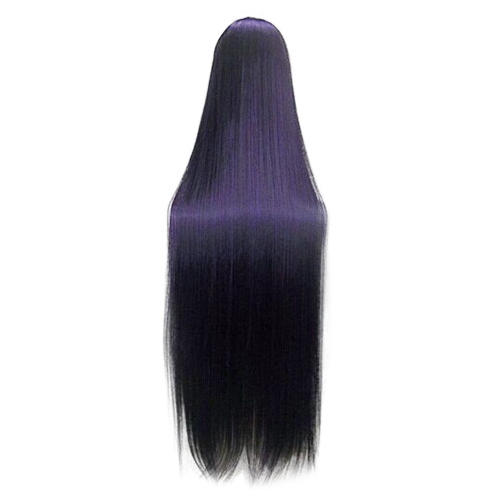 HAIRJOY Purple Black Cosplay Costume Wig Full Bang Heat Resistant Synthetic Hair Long Straight High Temperature Fiber 5 Colors 2